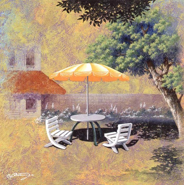Белый стол и стулья с зонтиком (697x700, 111Kb)