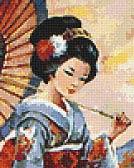 СХЕМА.  Юная японка с зонтиком.  Вышивка крестом, схемы.