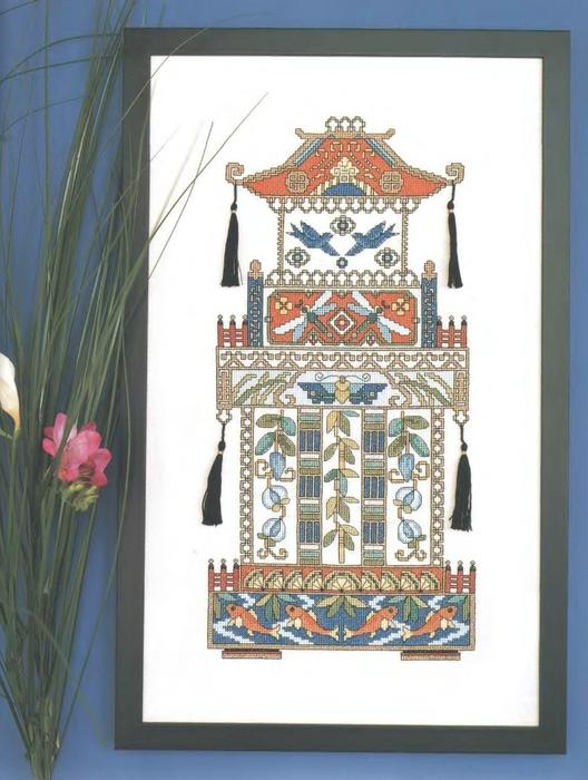 """Пагода из книги  """"Восточная вышивка крестом """" ."""