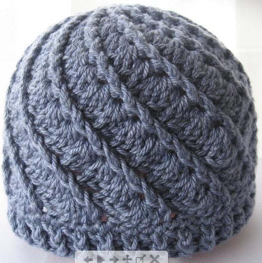 шапка крючком теплая с