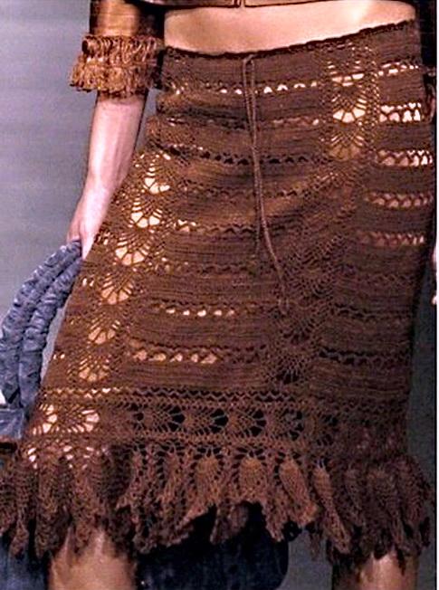Вязаные юбки лентами ажурными