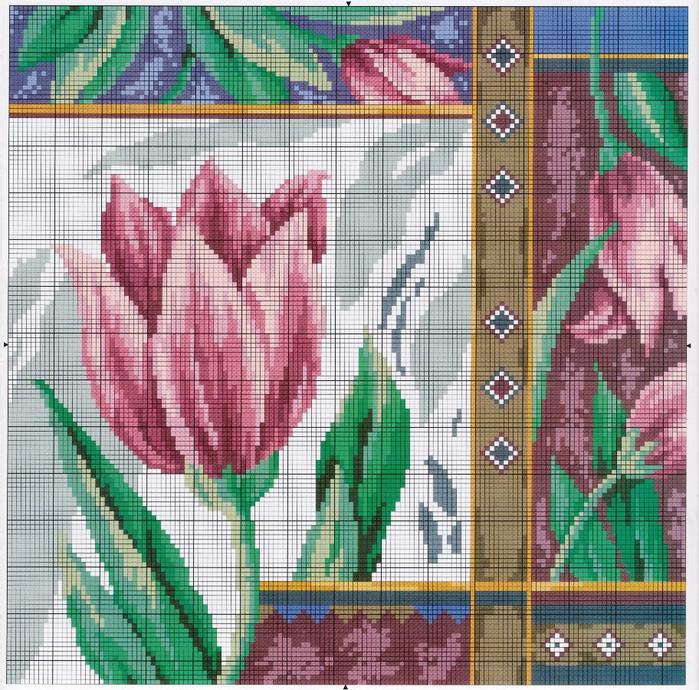 Вышивка крестом тюльпаны фото 75