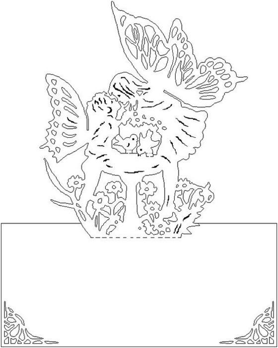 KIRIGAMI - примеры и схемы.  Вырезаем красивые открытки.