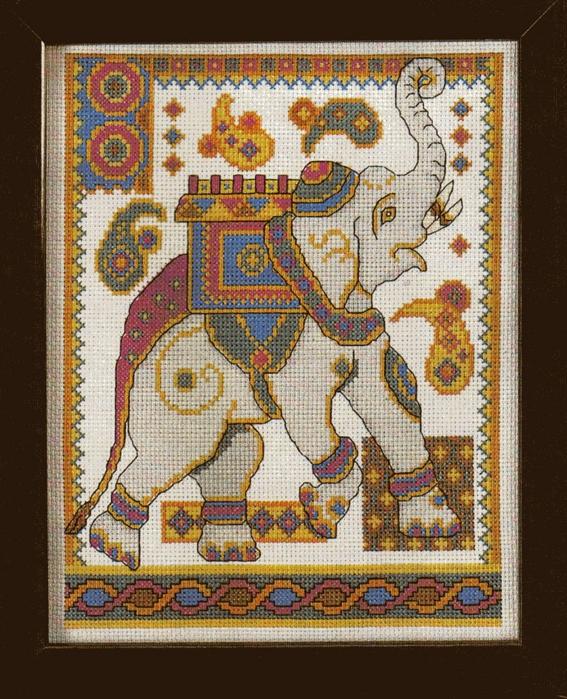 Индийские слоны вышивка