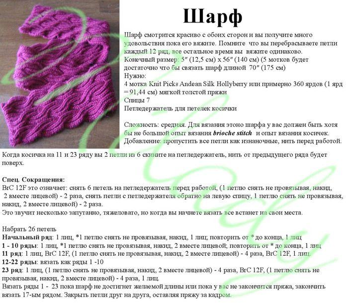 Вязание объёмных шарфов спицами 418