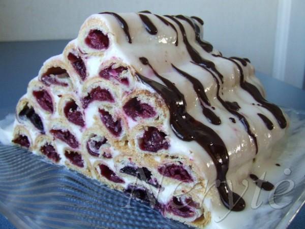 Рецепт торта поленница с вишней