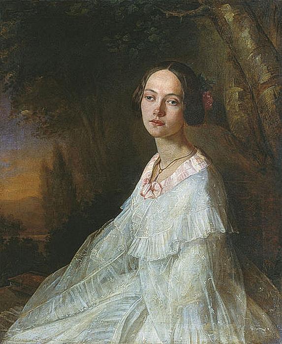 Николай Лавров(1820-1875).Портрет Юлии Валериановны Жадовской (1824-1883) (573x700, 344Kb)