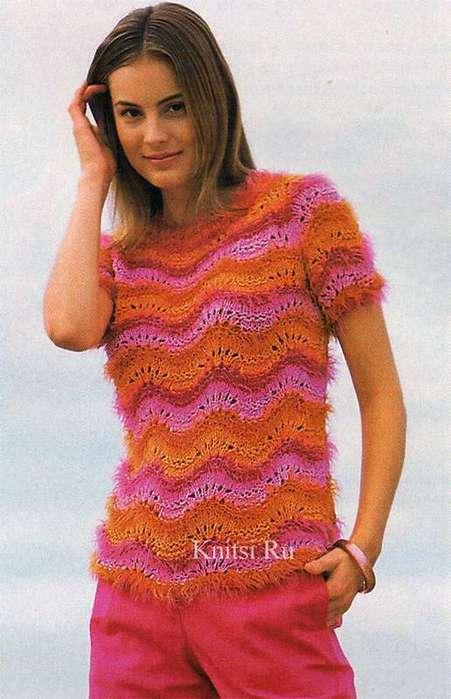 Ажурный полосатый пуловер (451x700, 42Kb)