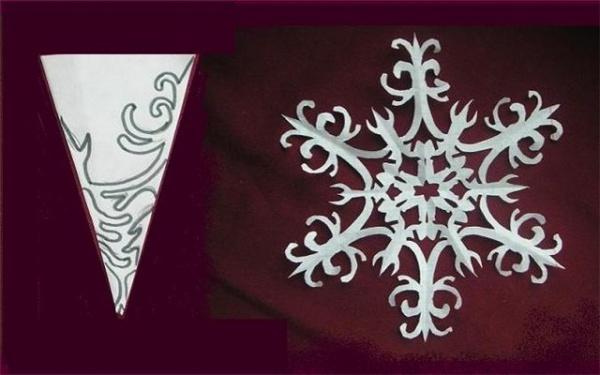 снежинку из бумаги: