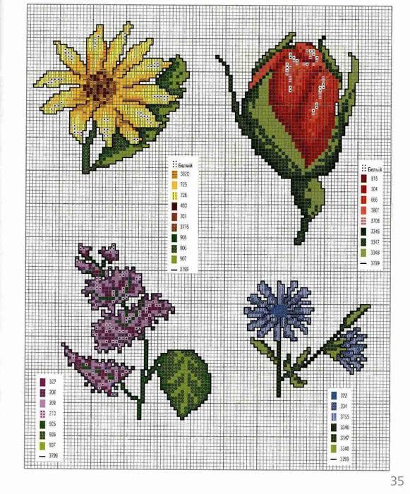 Простая схема цветы вышивки