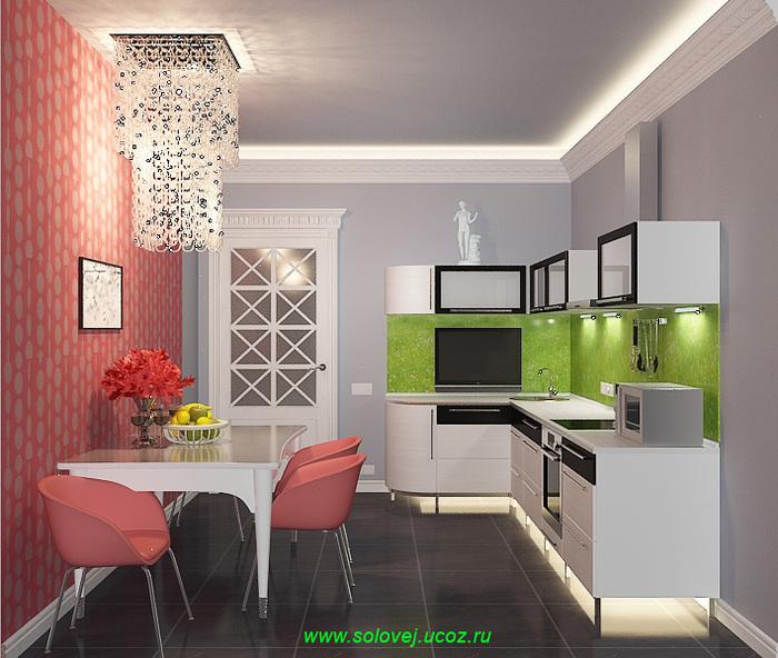Дизайн интерьера кухонной комнаты в 3-комнатной квартире