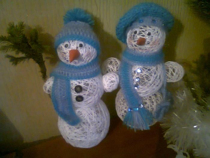 Снеговик из пряжи своими руками пошаговое фото