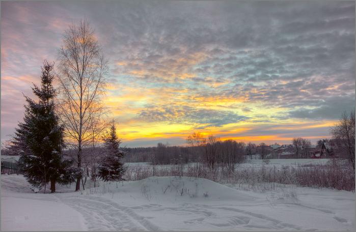 зимний закат (700x456, 400Kb)