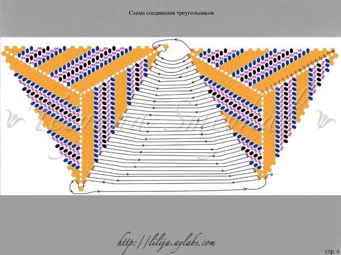 """Часть 2. Гердан  """"Звездная ночь """". объёмный треугольник (бисер)."""