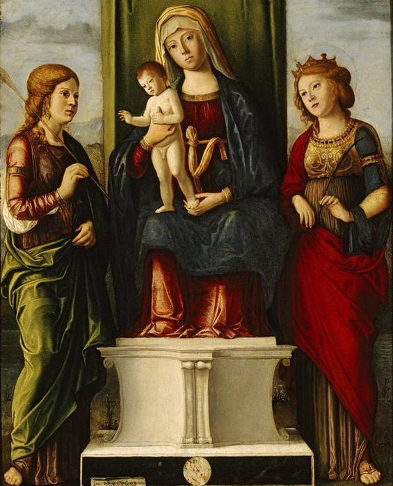 Cima_da_Conegliano,_Enthroned_Madonna_and_Child_with_Two_Virgin_Martyrs (565x700, 149Kb)