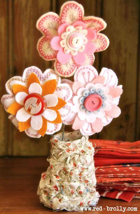 Цветы из ткани своими руками в вазу 73