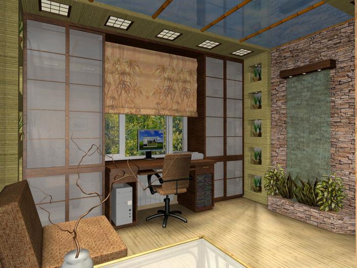 Отделка стен бамбуковым полотном фото 2