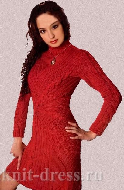 Теплое Вязаное Платье Косы