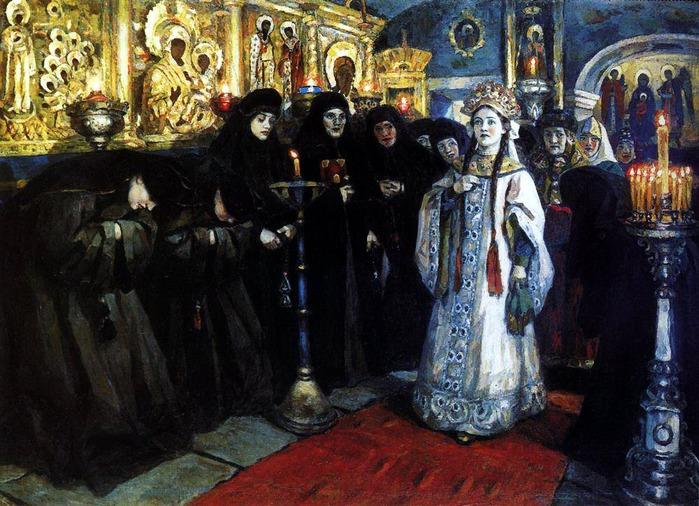 Посещение царевной женского монастыря. 1912 (700x506, 142Kb)