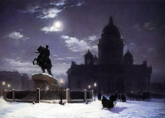 Вид памятника Петру I на Сенатской площади в Петербурге. 1870 (700x503, 101Kb)
