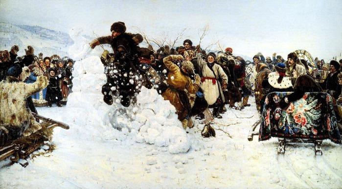 Взятие снежного городка. 1891 (700x387, 113Kb)