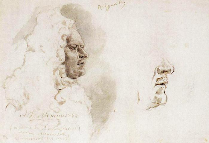 Голова Меншикова в профиль. Нижняя часть лица. 1882 (700x479, 67Kb)