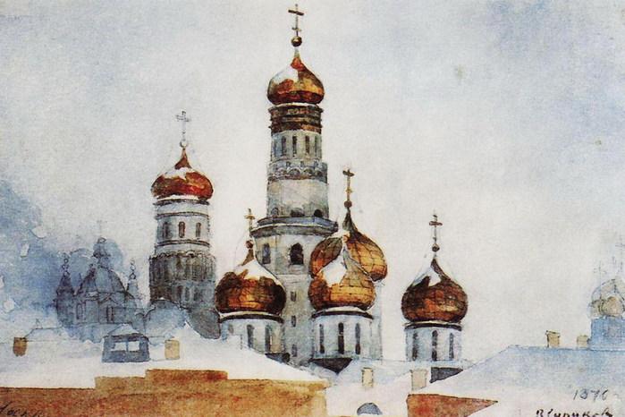Колокольня Ивана Великого и купола Успенского собора. 1876 (700x466, 92Kb)