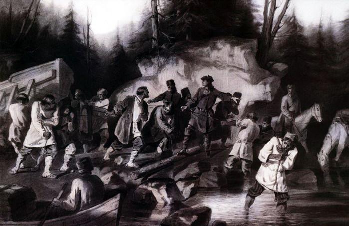 Петр I перетаскивает суда из Онежского залива в Онежское озеро в 1702 году. 1872 (700x453, 106Kb)