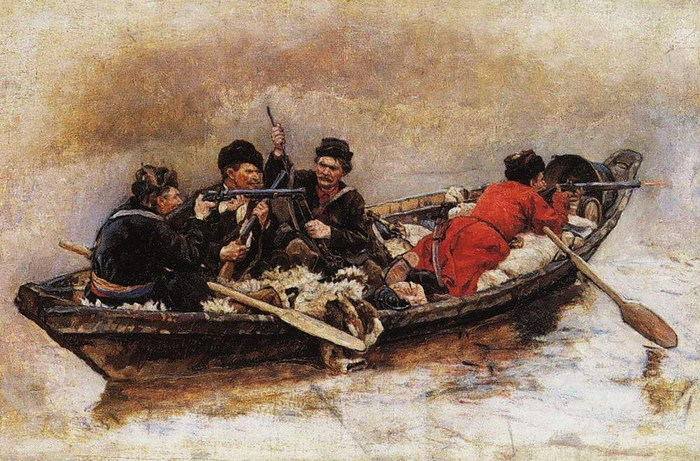 Казаки в лодки (700x461, 136Kb)
