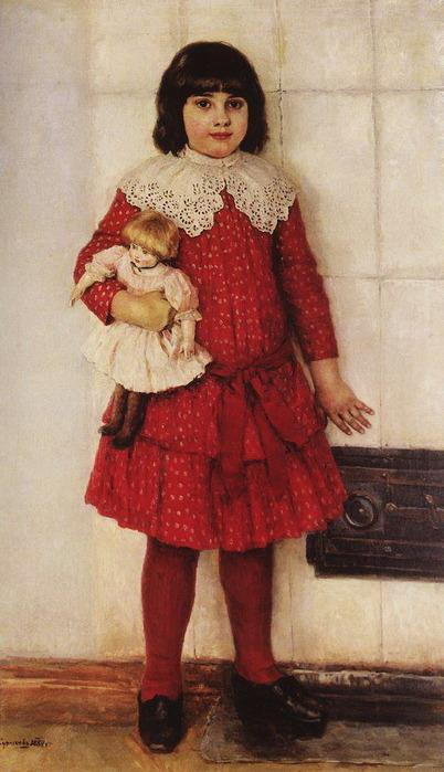 Портрет О.В.Суриковой (в замужестве Кончаловской), дочери художника, в детстве 1888 (402x700, 95Kb)