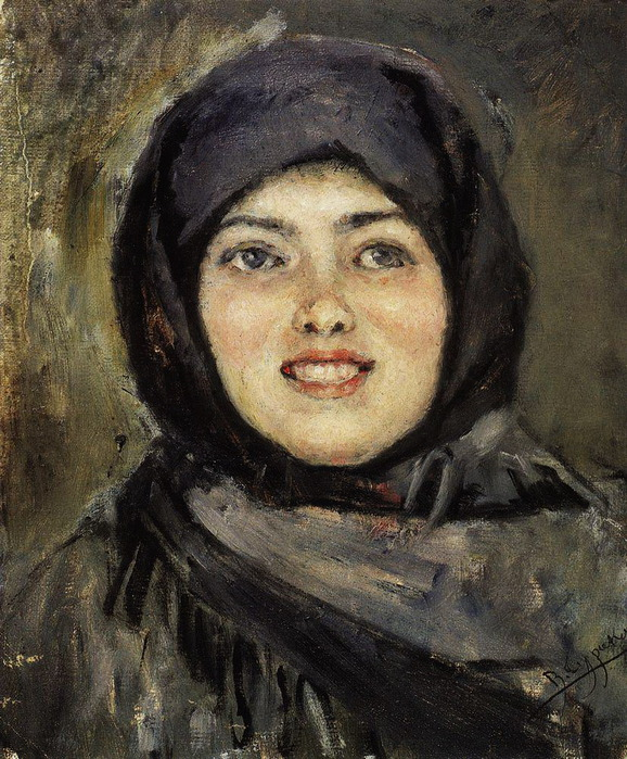 Голова смеющейся девушки. 1890 (578x700, 184Kb)