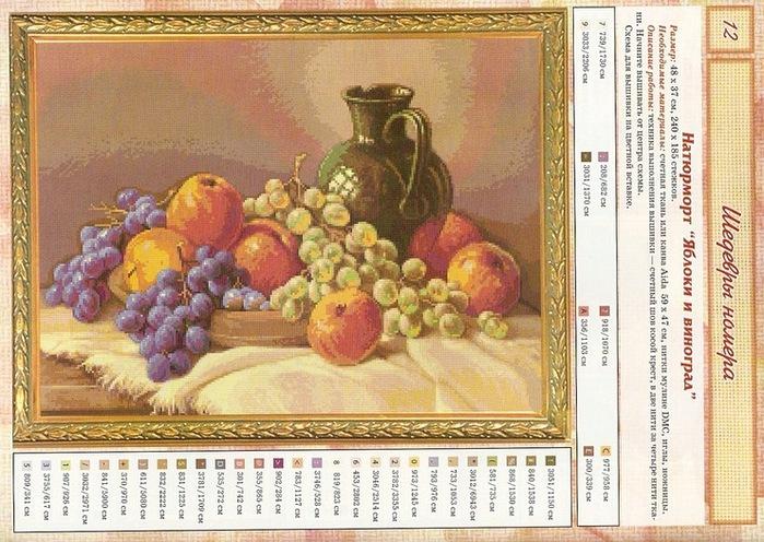 схема вышивки яблоки и