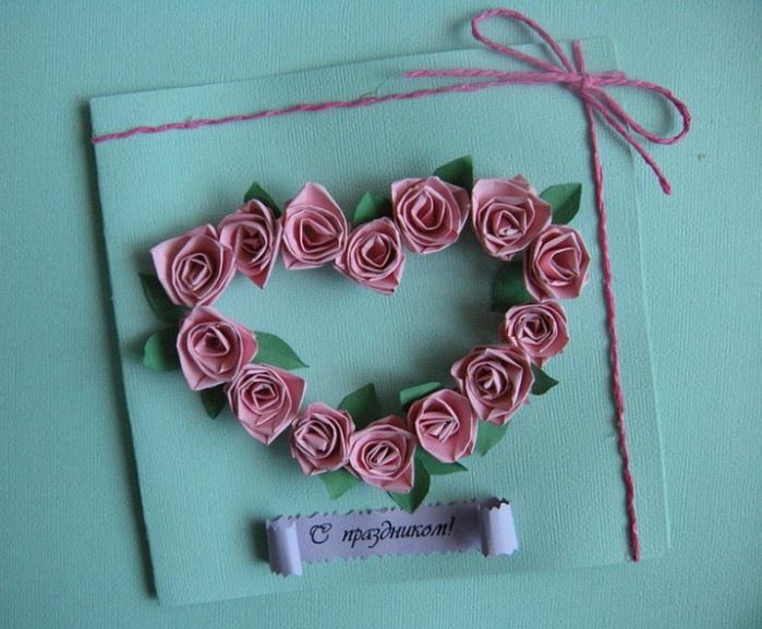 Открытки своими руками с розами фото