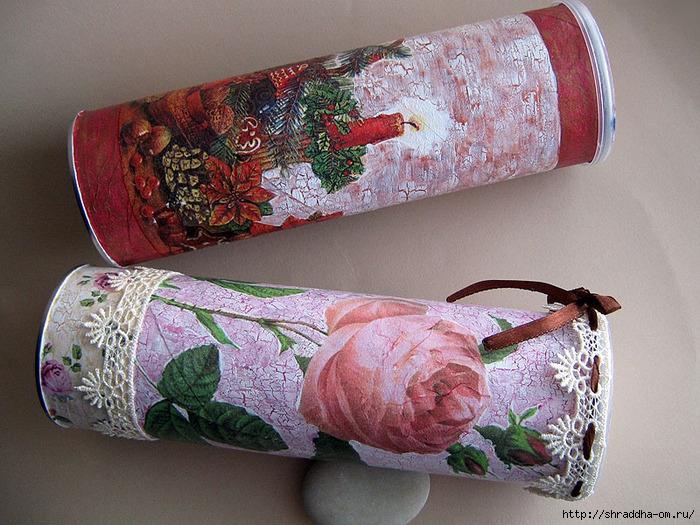 баночки Новый год и Розы, акрил, декупаж, кракелюр, автор Shraddha, 1 (700x525, 338Kb)