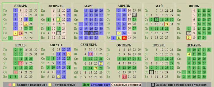 Календарь православный на 2012