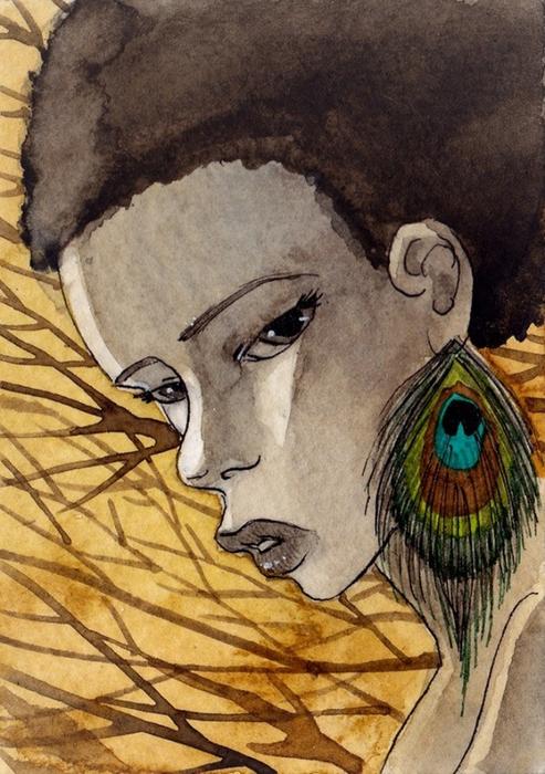 Женские портреты акварелью и графика от Renee Nault