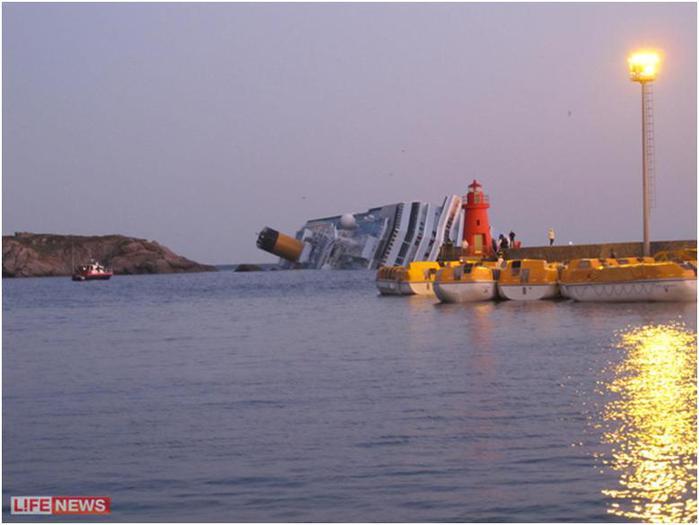Costa Concordia, получив пробоину, завалилась на правый борт