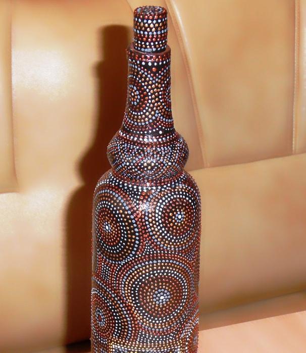 Роспись на глинянной бутылке 14952