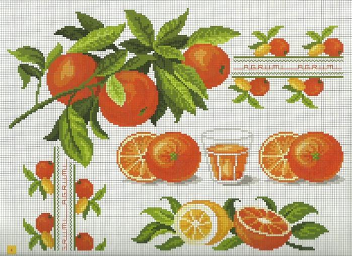 схемы вышивок фрукты - Самое
