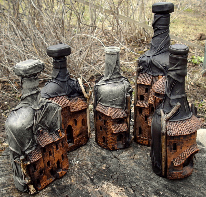 Бутылки в коже своими руками мастер класс