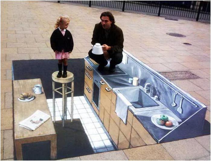 Анаморфное уличное искусство. Фотографии