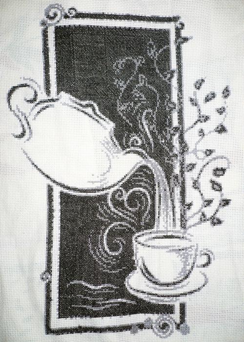 Вышивка монохром схемы на кухню 66