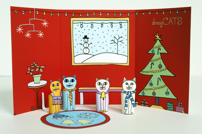 02-Made-by-Joel-Christmas-Holiday-Dressy-Cats-Kids-Craft-1 (700x465, 139Kb)