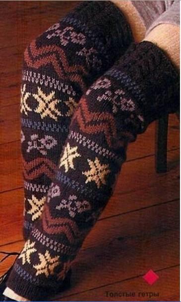 Теплые гетры и домашние тапочки -носки с красивым орнаментом, связаны спицами /4683827_20120122_161739 (365x607, 66Kb)