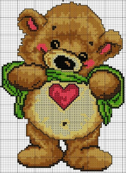 Описание: Схема для вышивки крестом - Медвежонок на день Святого Валентина в формате xsd. бесплатно. q0162.rar.
