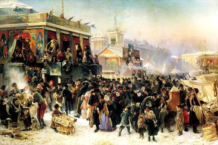 Народное гулянье во время масленицы на Адмиралтейской площади в Петербурге. 1869 (700x464, 151Kb)