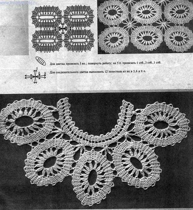 Старинные узоры(вязание крючком) .