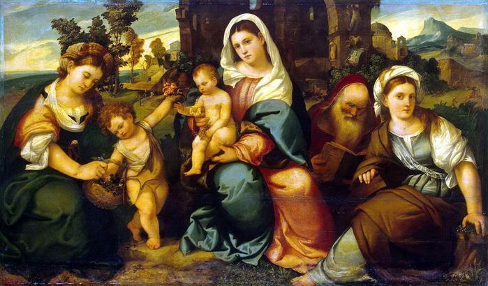 Бонифацио Веронезе - Мадонна с младенцем, святыми Екатериной, Иоанном Крестителем, Доротеей и Антонием Аббатом, Эрмитаж (700x410, 231Kb)