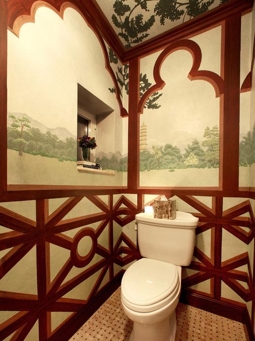 Декор стен в туалете своими руками