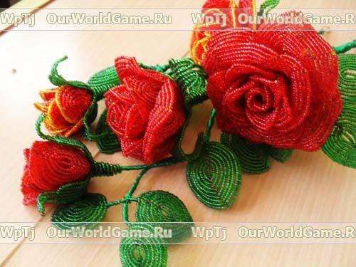 Для плетения розы из бисера,